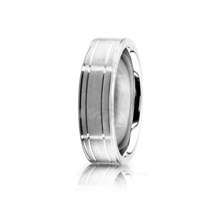 Genuine Satin Stylish Wedding Ring 6mm 02572