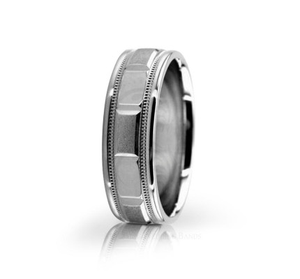 Authentic Satin Designer Wedding Band 6.5mm 02582