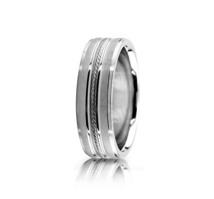 Genuine Satin Designer Wedding Ring 6.5mm 02583