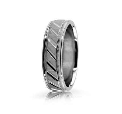 Solid Satin Designer Wedding Band 6.5mm 02593