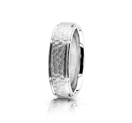 Genuine Polish Designer Hammered Wedding Band 6mm 02598