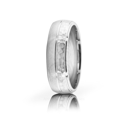Solid Satin Stylish Hammered Wedding Ring 6mm 02600