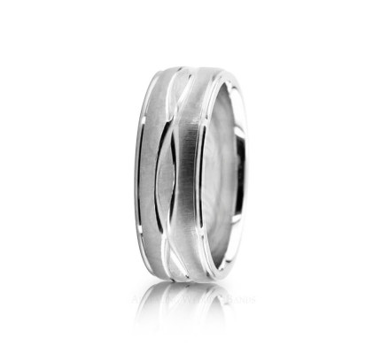 Genuine Satin Designer Wedding Ring 7mm 02609