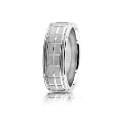 Genuine Satin Designer Wedding Ring 7mm 02613