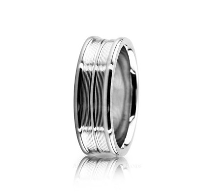 Solid Satin Stylish Wedding Ring 7mm 02616