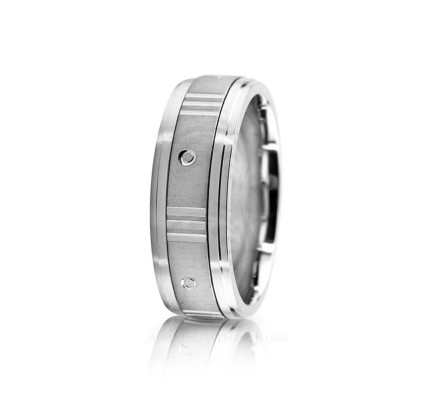 Solid Satin Diamond Cut Wedding Band 8mm 02622