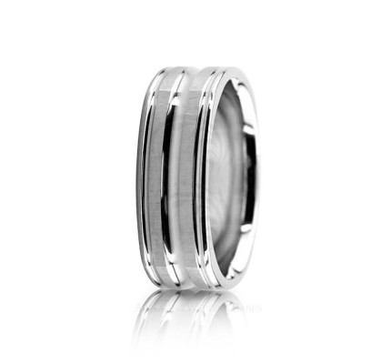 Solid Polish Diamond Cut Wedding Ring 7mm 02623