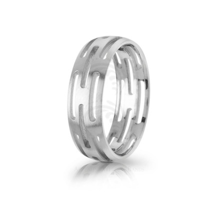 Authentic Polish Designer Carved Wedding Band 7mm 03004