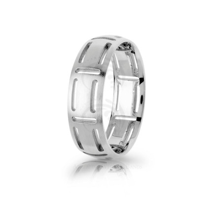 Genuine Satin Stylish Carved Wedding Ring 7mm 03005