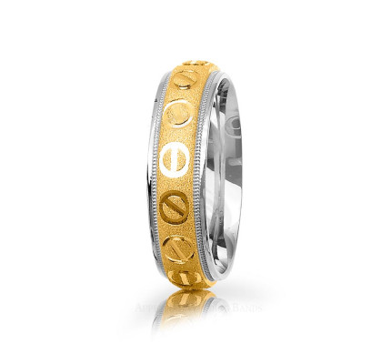 Authentic Polish Sandstone Stylish Screw Back Wedding Band 6mm 03014