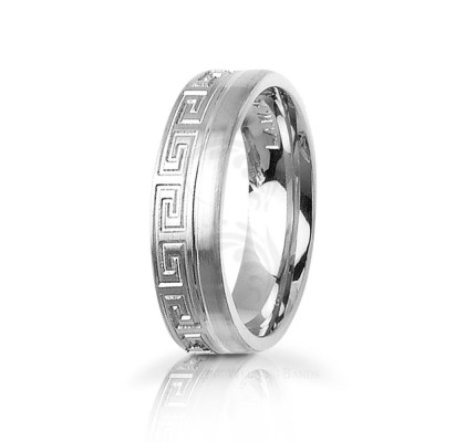 Handwoven Satin Greek Key Wedding Band 6mm