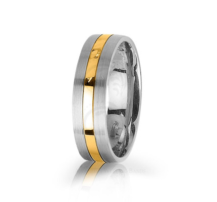 Authentic Satin Stylish Center Line Wedding Band 6mm 03031