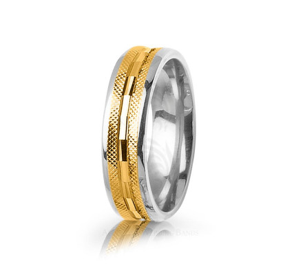 Solid Polish Stylish Center Line Wedding Band 6mm 03041