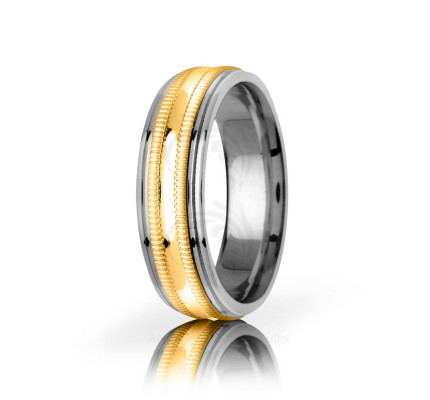 Solid Polish Stylish Center Line Wedding Band 6.5mm 03047