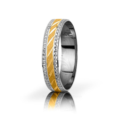 Solid Satin Designer Thin Carved Lines Wedding Ring 5mm 03066