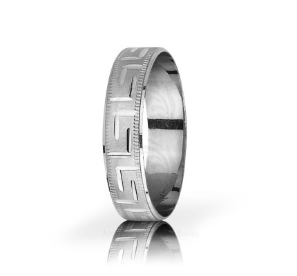Genuine Satin Stylish Thin Greek Key Wedding Band 5mm 03072