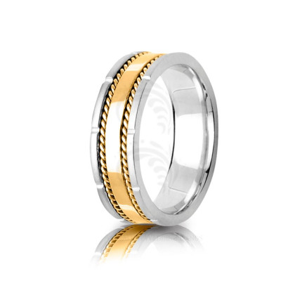 Handmade Polish Rope Edge Wedding Band 7mm