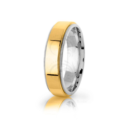 Authentic Polish Stylish Center Line Wedding Band 6mm 03085