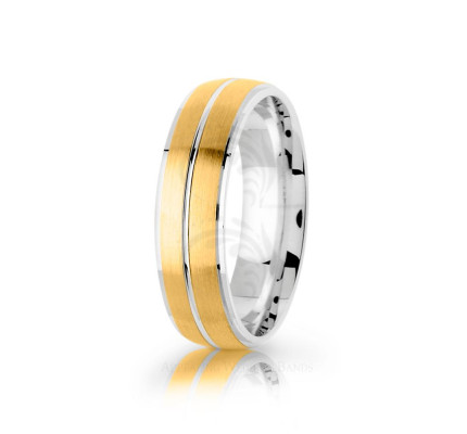 Authentic Satin Stylish Double Stripe Wedding Band 6mm 03086