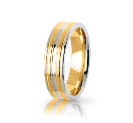 Authentic Polish Stylish Double Stripe Wedding Band 6mm 03091