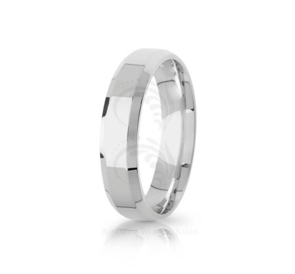 Authentic Polish Stylish Top Flat Wedding Ring 5mm 03094