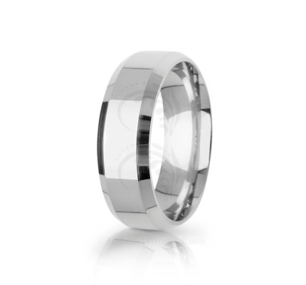 Solid Polish Designer Top Flat Wedding Band 7mm 03096