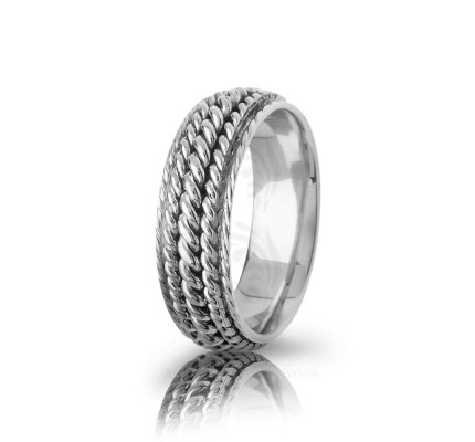 Handmade Polish Braided Rope Edge Wedding Band 7mm