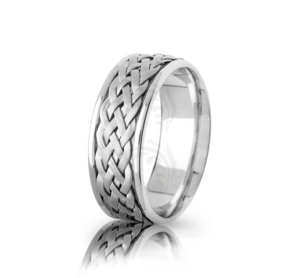 Handmade Satin Braided Wicker Wedding Band 8mm