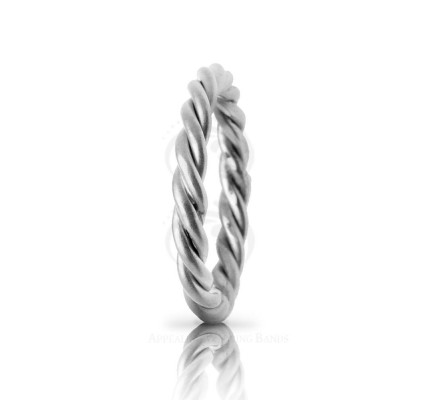 Handwoven Satin Braided Rope Edge Wedding Band 3mm