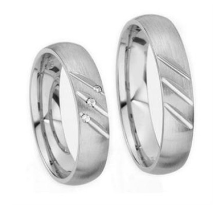 Satin His And Her Wedding Rings 0.04 Ctw Round Diamond 5mm 03500