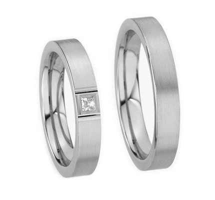 Satin Matching Wedding Bands 4mm 03543