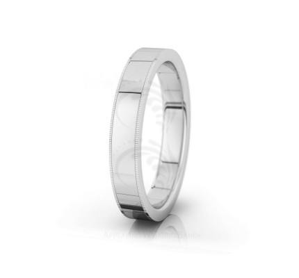 Genuine Polish Traditional Milgrain Flat Wedding Band 4mm 04003