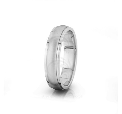 Authentic Satin Traditional Low Dome Step Edge Wedding Ring 5mm 04019