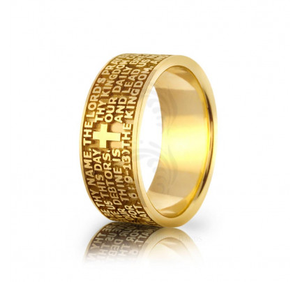 Religious Christian Letter Cross Wedding Ring Satin 9mm 01436