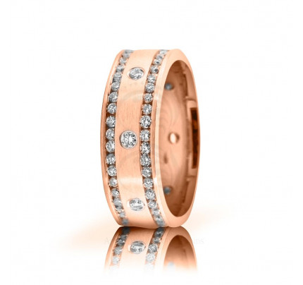 1.7 Ctw 10k Rose Gold Round Diamond Wedding Band 5mm 02522 Size 8.5